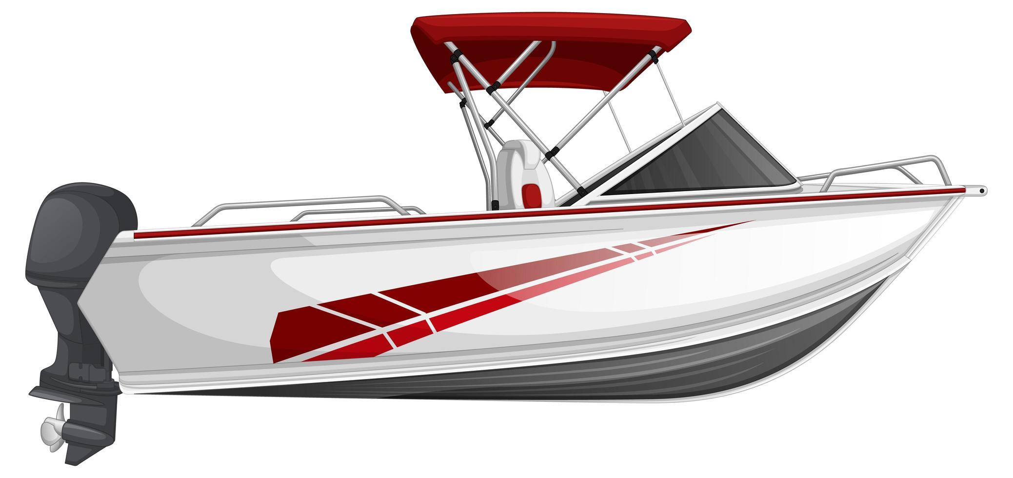 Lancha rápida o lancha a motor aislado sobre fondo blanco. vector