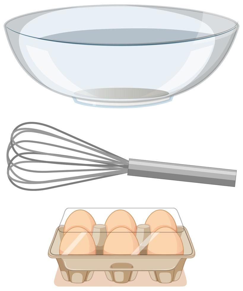 Herramientas de panadería batidor de metal con tazón grande y bandeja de huevos de papel sobre fondo blanco. vector