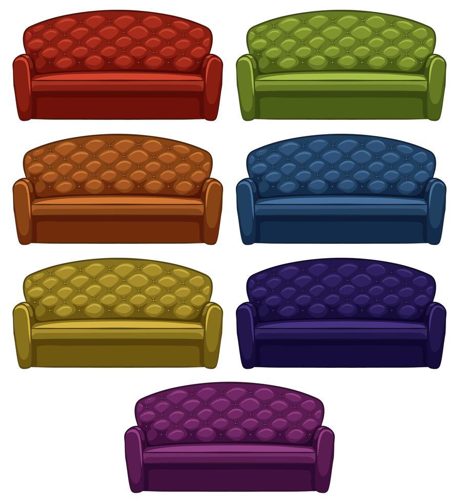 conjunto aislado de sofá en siete colores vector