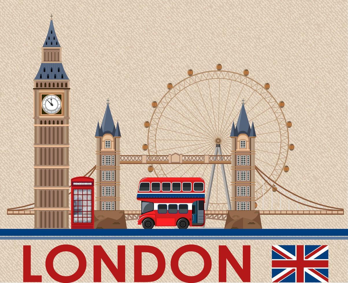 Big Ben de Londres en papel postal marrón vector