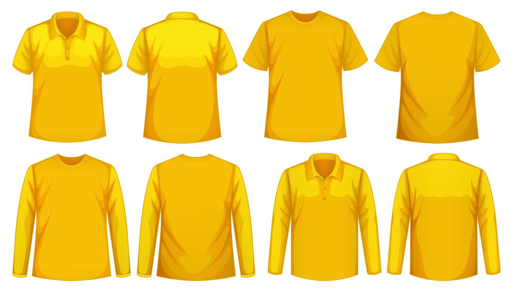 conjunto de diferentes tipos de camisa en el mismo color vector