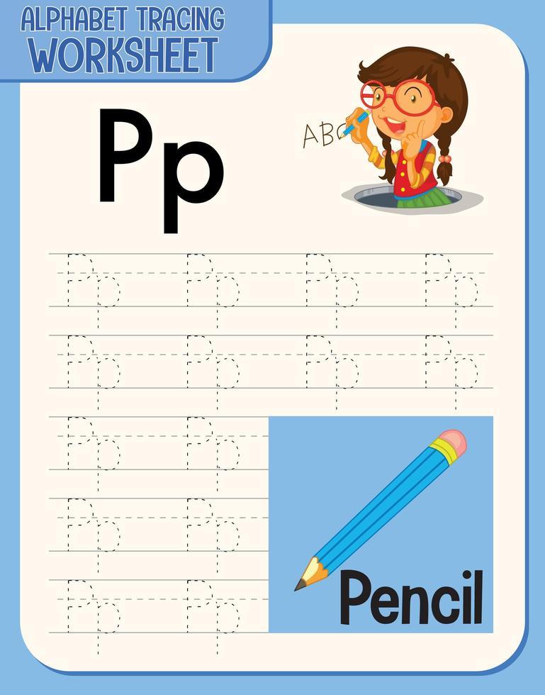 hoja de trabajo de rastreo alfabético con letras y vocabulario vector