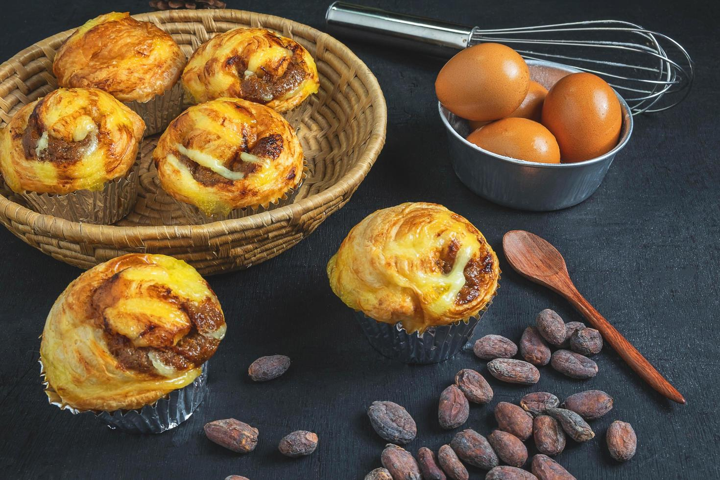 Baked breakfast pastries photo