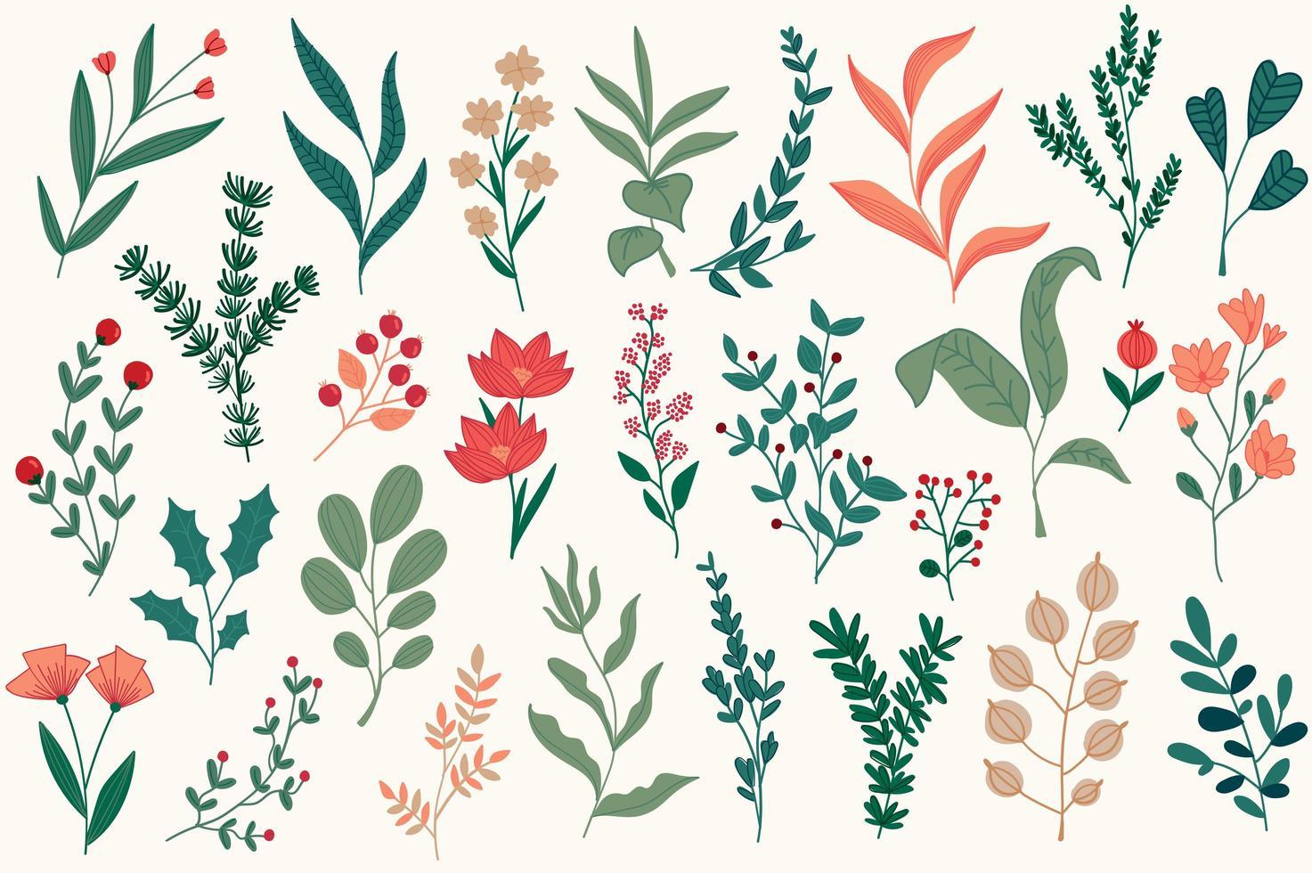 decoraciones florales para postales navideñas. vector