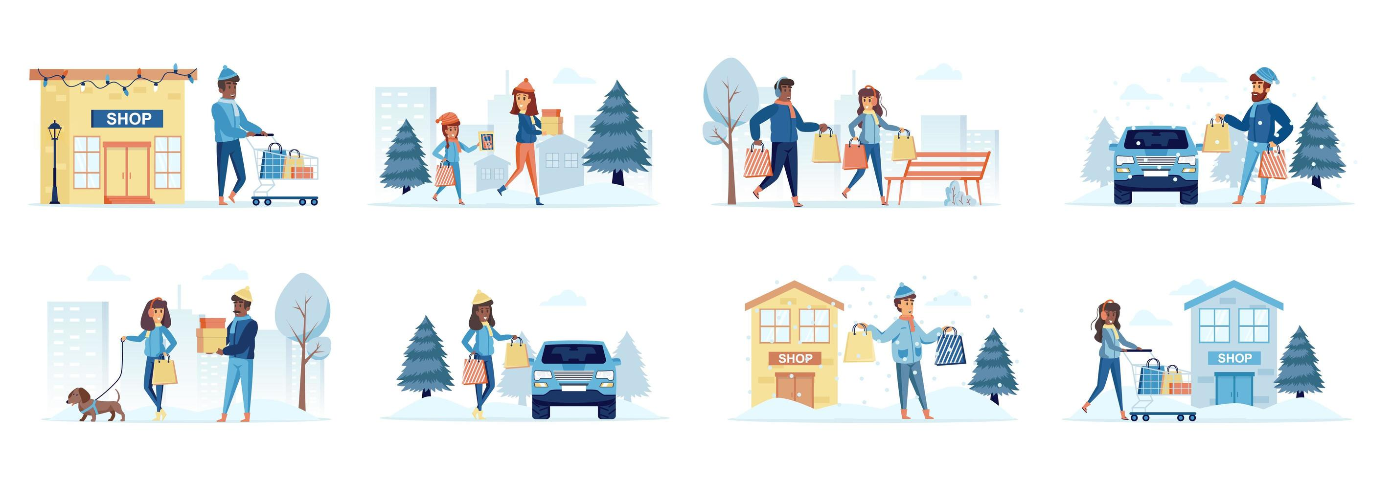 Winter season shopping bundle of scenes with people characters vector