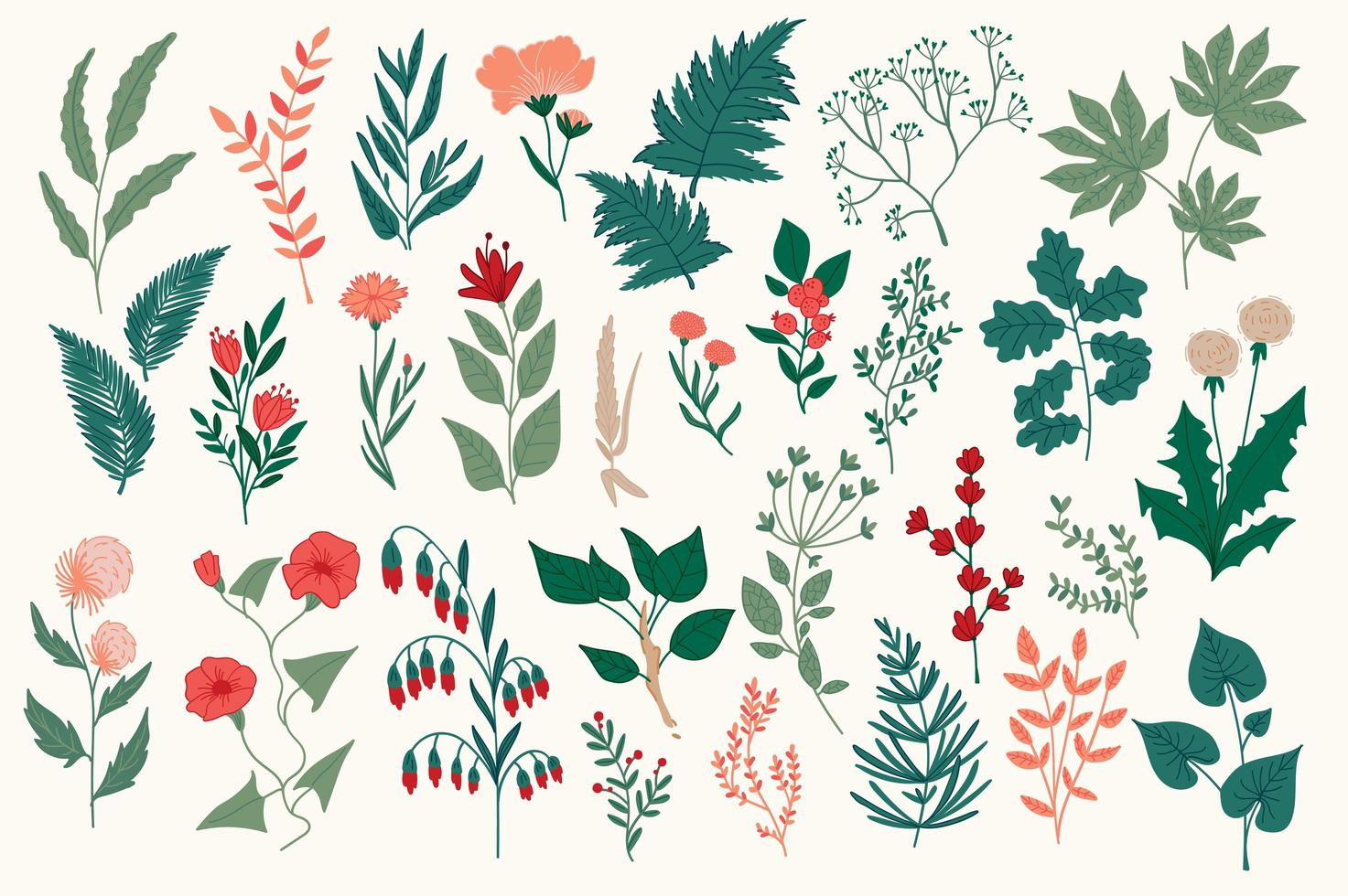 Conjunto de elementos decorativos de flores silvestres. vector