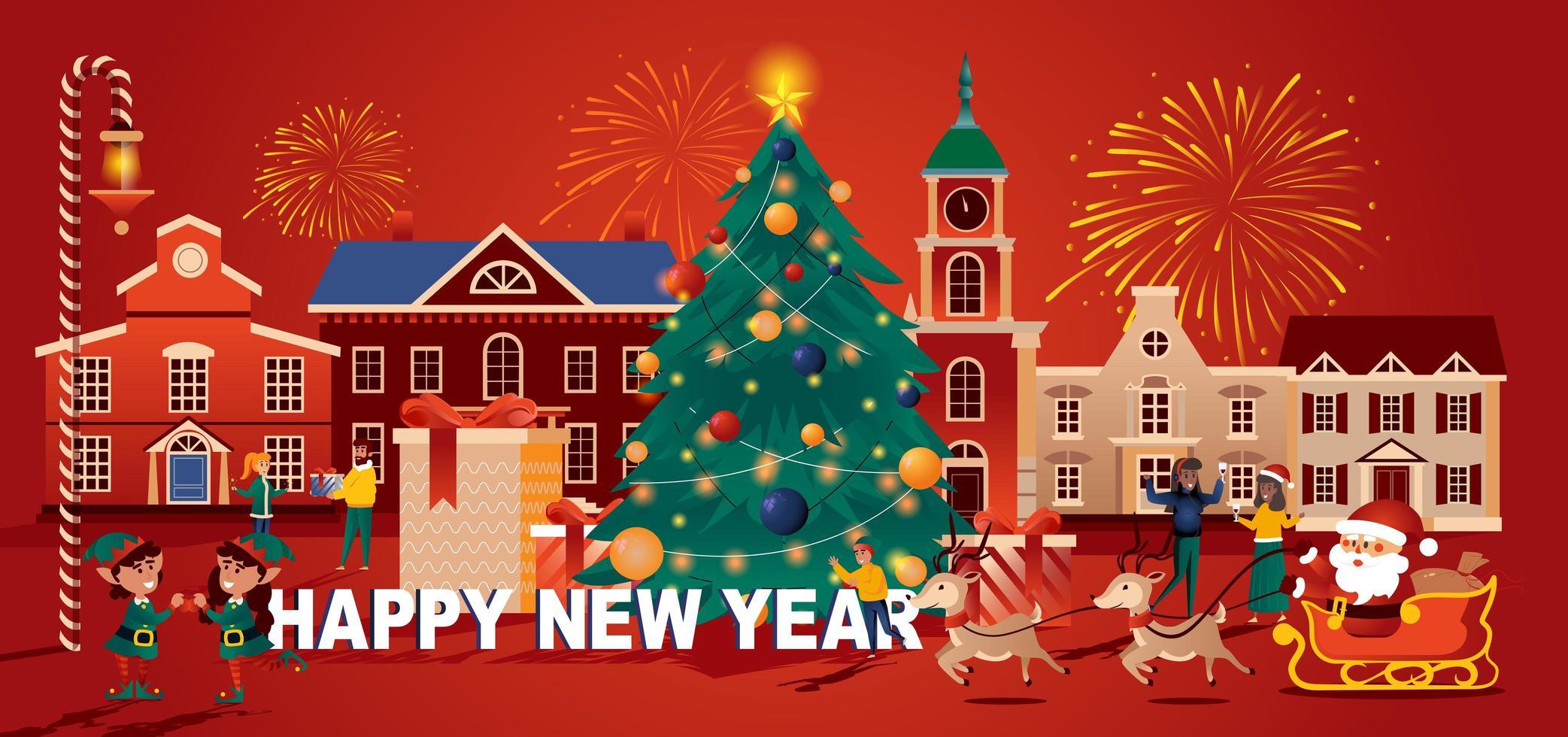 feliz navidad celebración tarjeta de felicitación de estilo plano vector