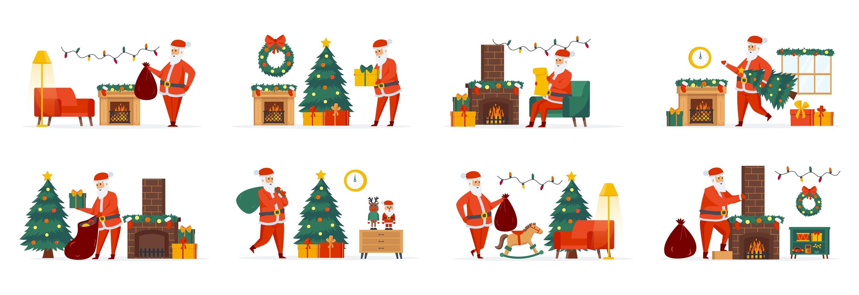Christmas Santa Claus bundle of scenes with characters vector