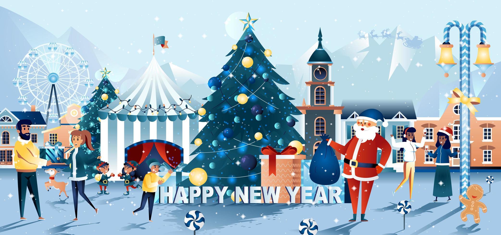 tarjeta de celebración de la plaza de la ciudad de santa de navidad y año nuevo vector