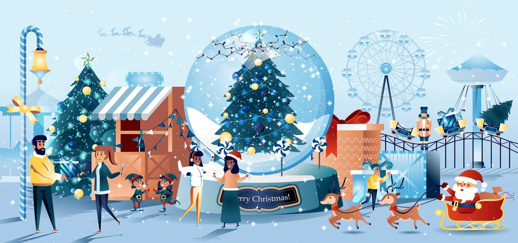 tarjeta de felicitación de estilo plano de carnaval de navidad vector