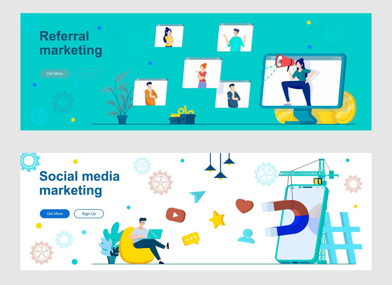 Social media marketing landing page with people characters vector