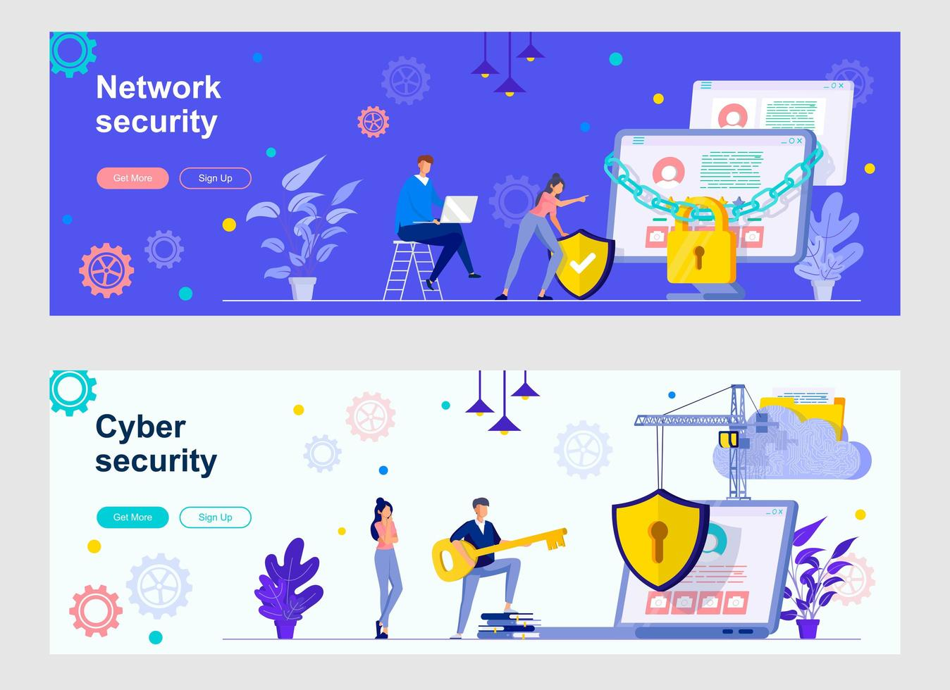 Cyber security landing page with people characters vector