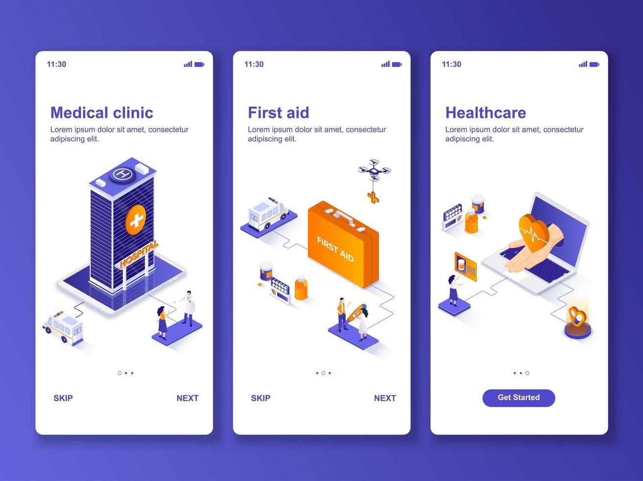 Medical clinic isometric GUI design kit vector