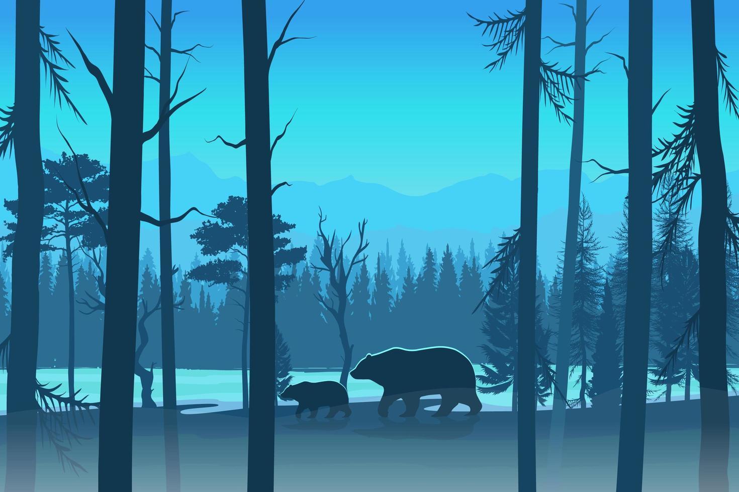 osos en el diseño del bosque en tonos azules. vector