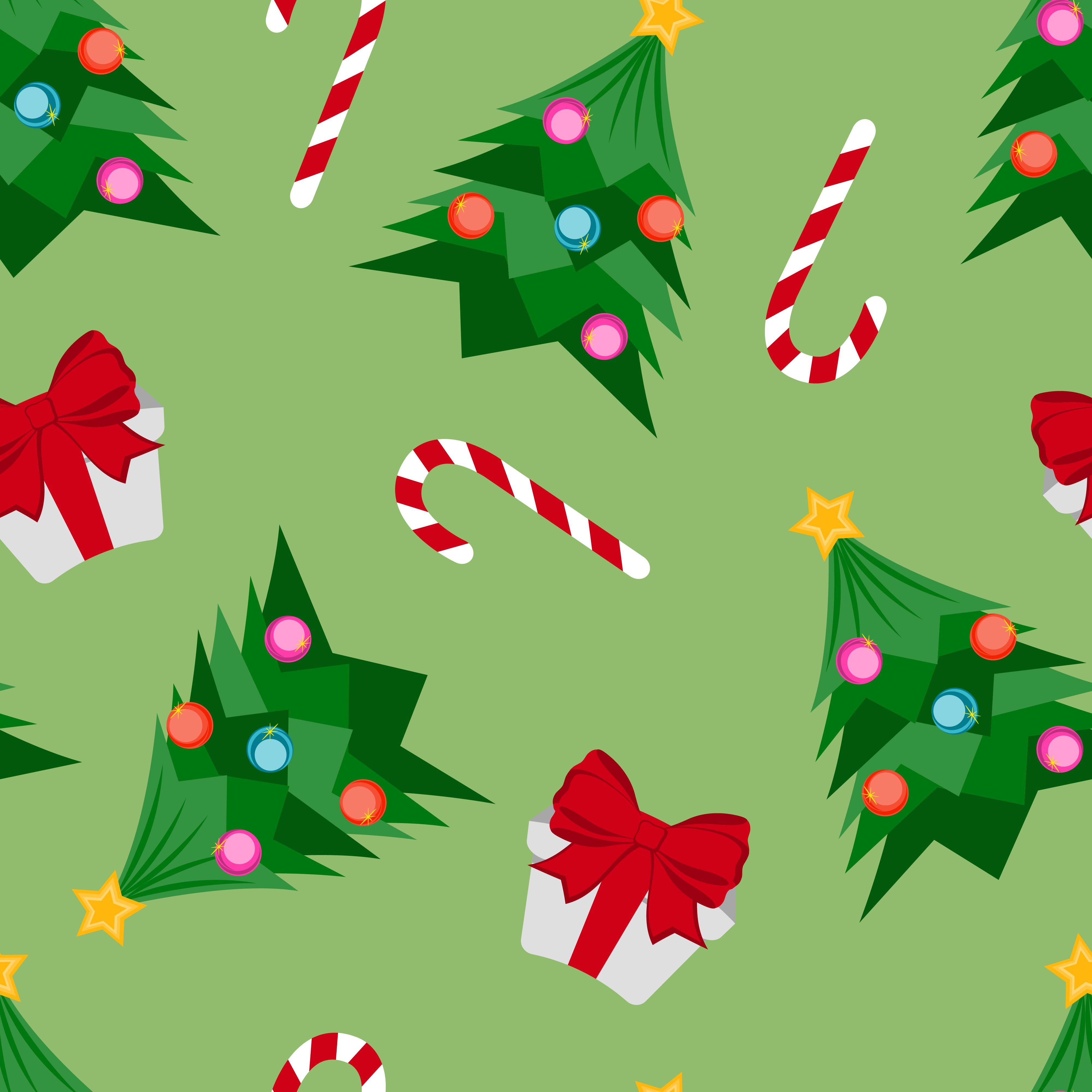 Christmas Tree Gift And Candy Cane Pattern Download Free Vectors Clipart Graphics Vector Art