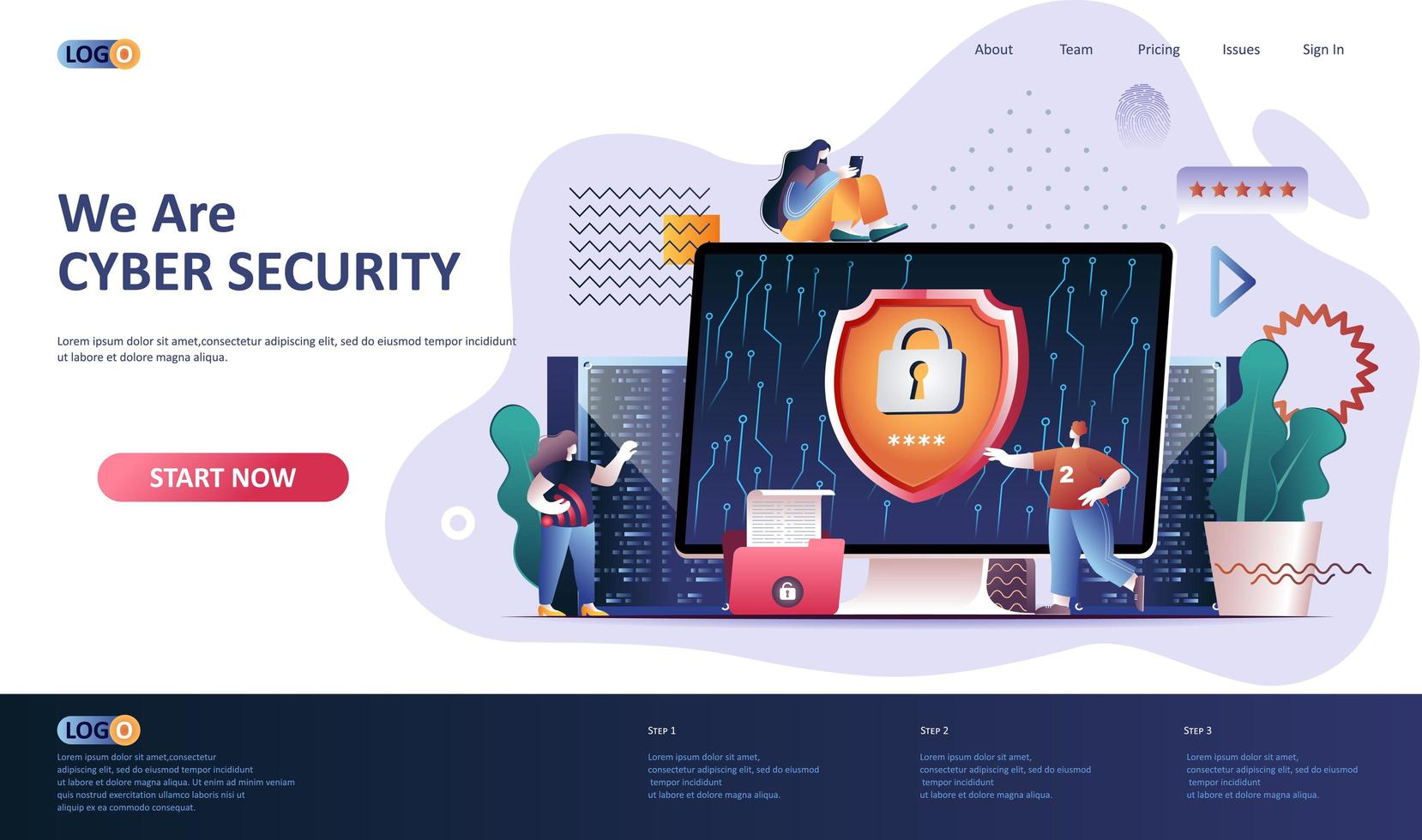 Cyber security flat landing page template vector