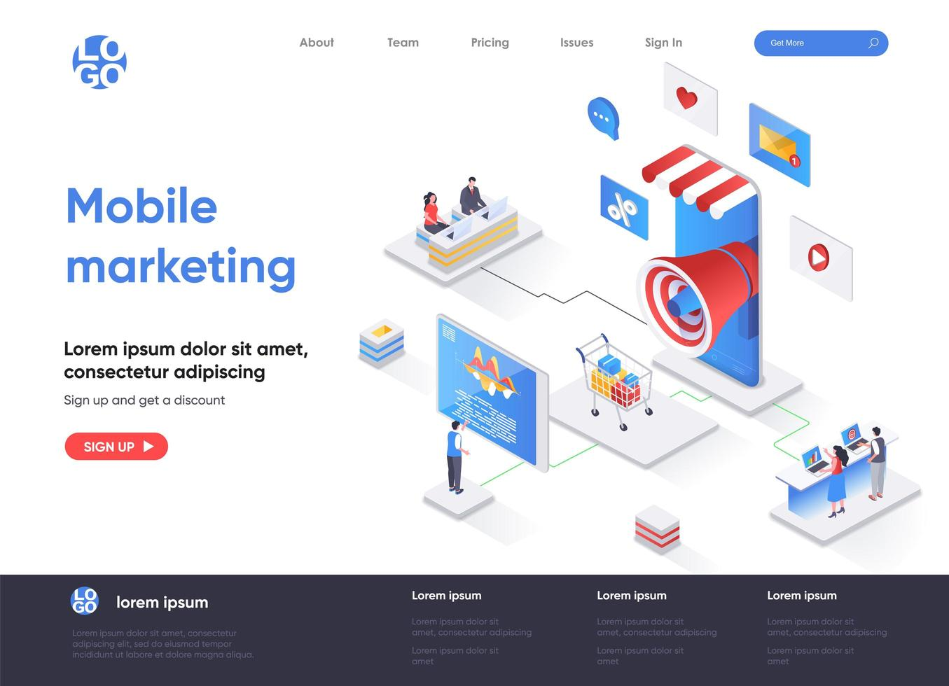 Mobile marketing agency isometric landing page vector
