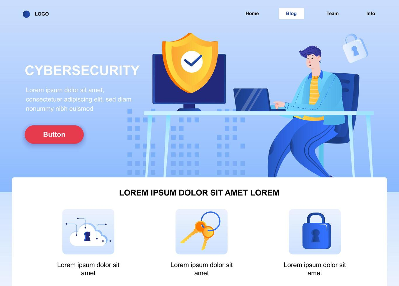 Cyber security flat landing page vector