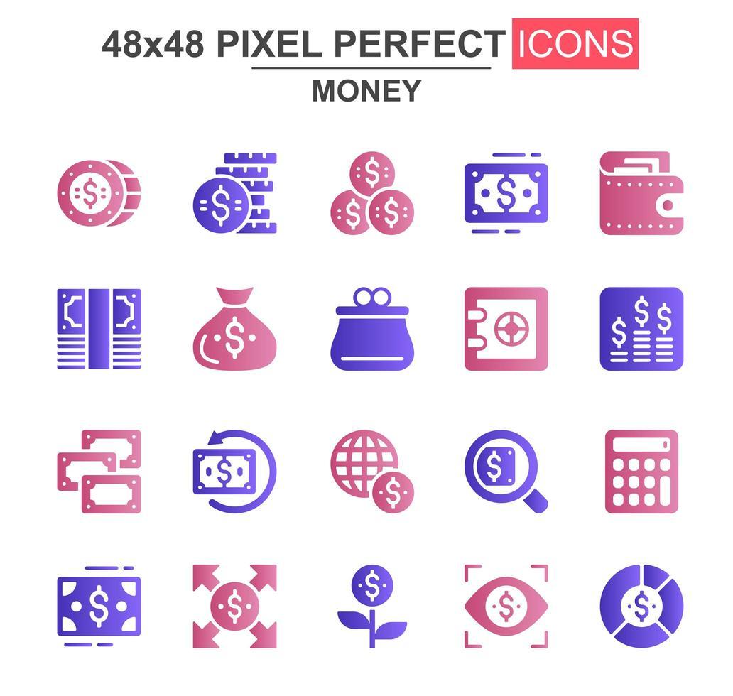 conjunto de iconos de glifo de dinero vector