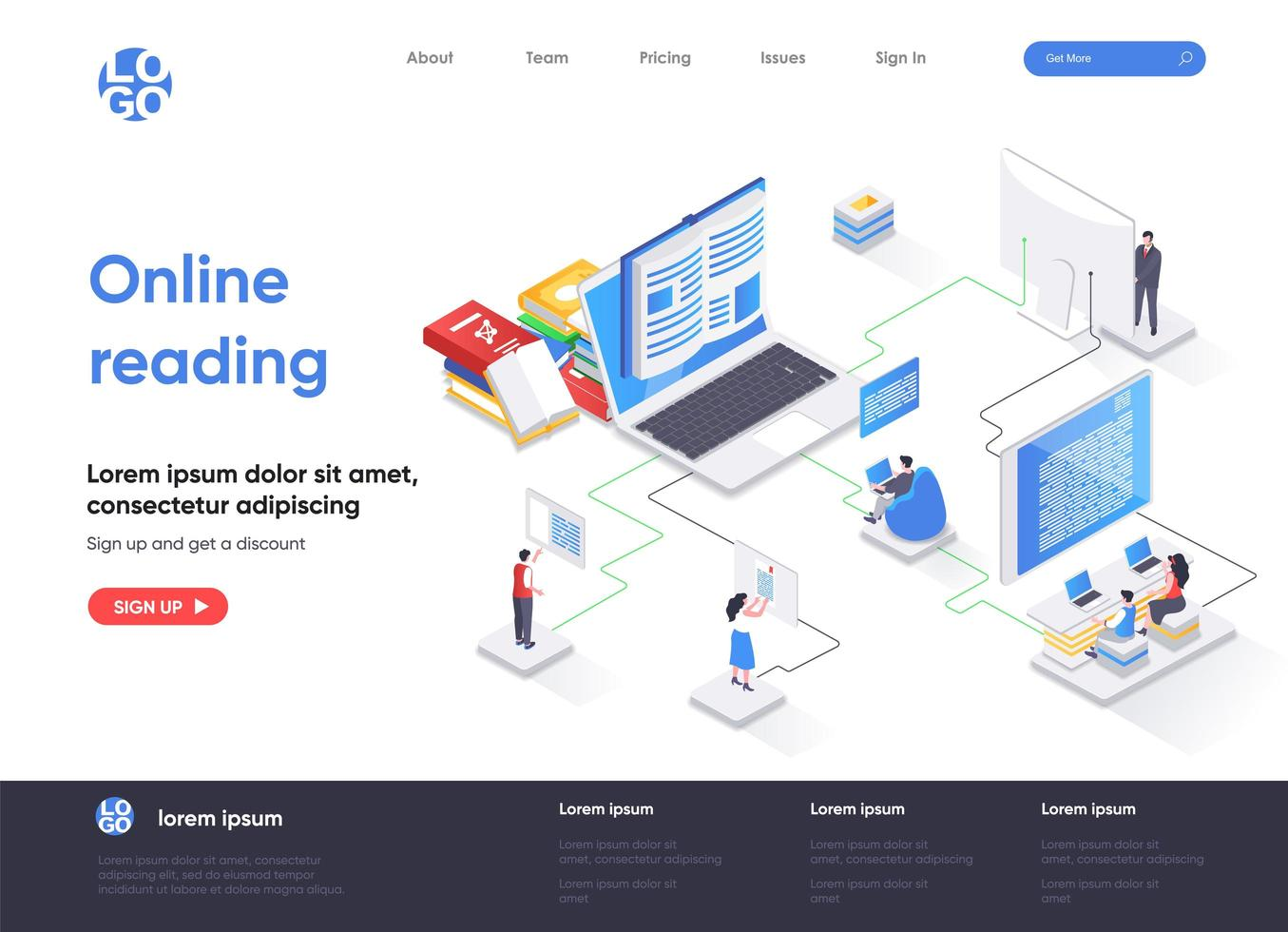Online reading isometric landing page vector