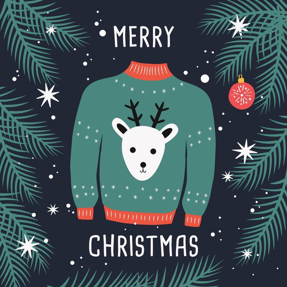 tarjeta de feliz navidad suéter con renos y ramas. vector