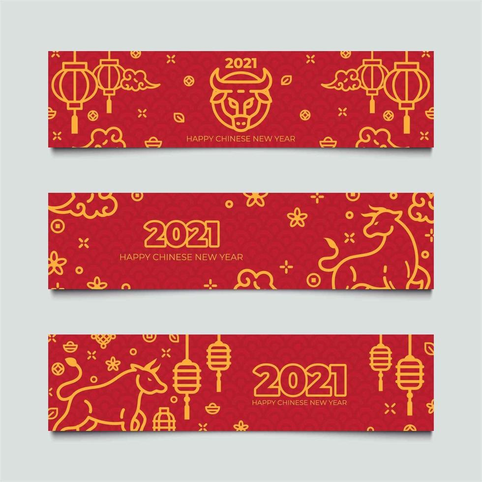 Set of Golden Ox Chinese New Year Banners vector