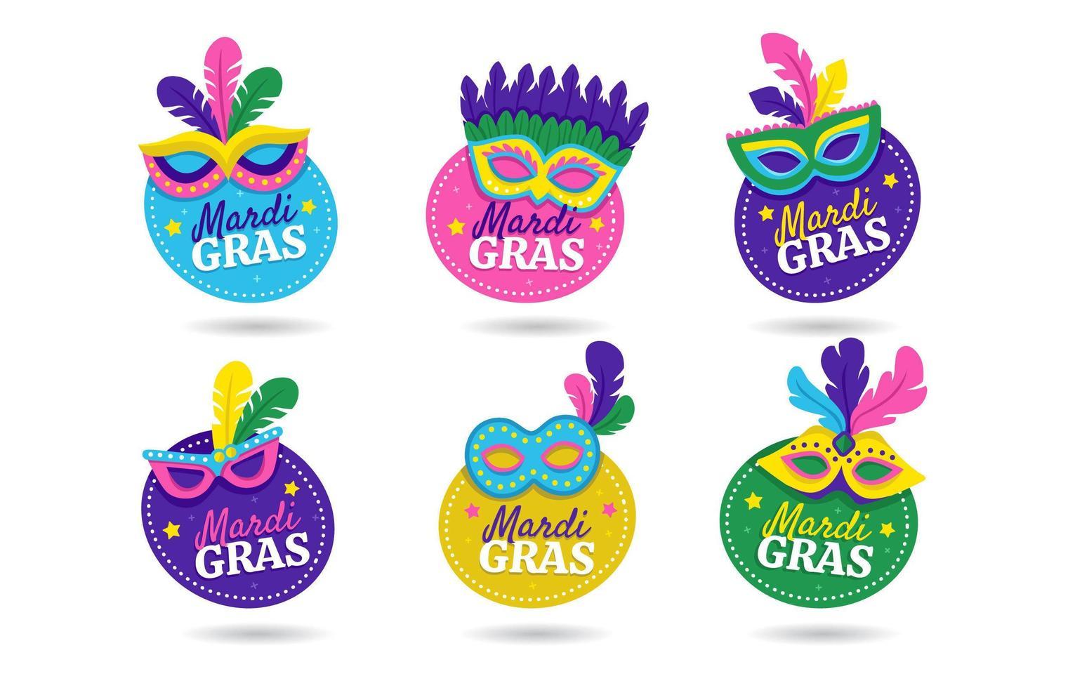 Mardi Gras Mask Label Sticker vector