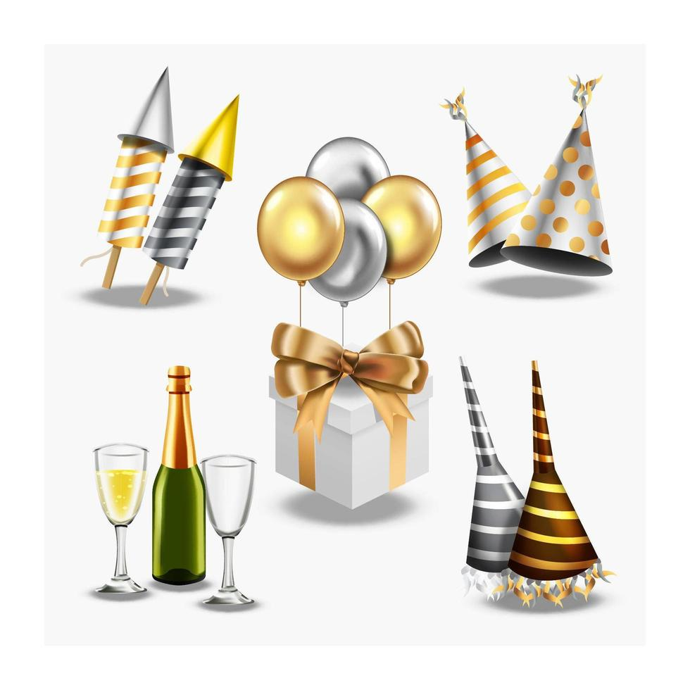 Realistic New Year Icons vector