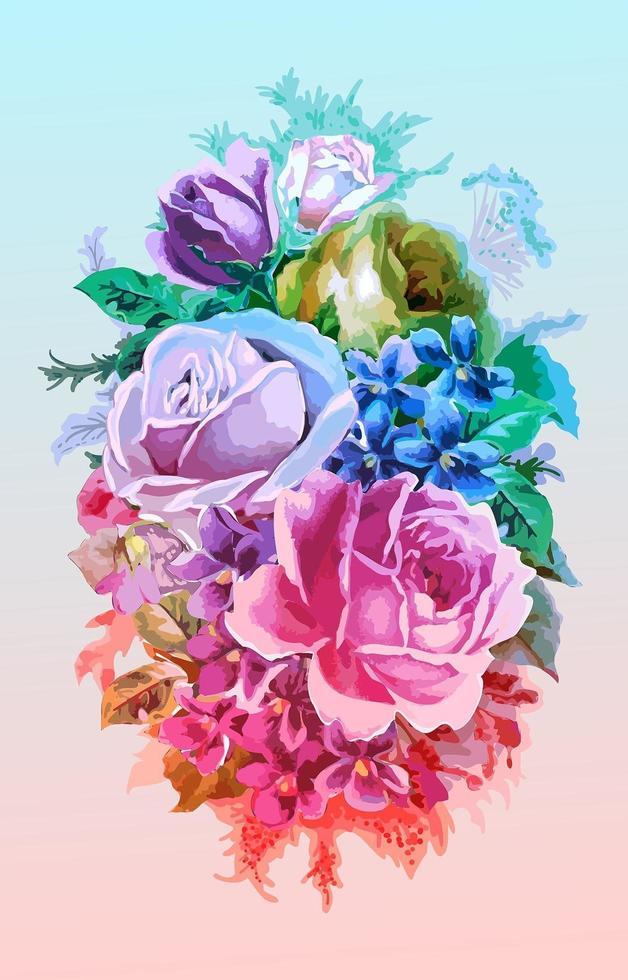 Vintage Watercolor Bouquet of Colorful Flowers vector