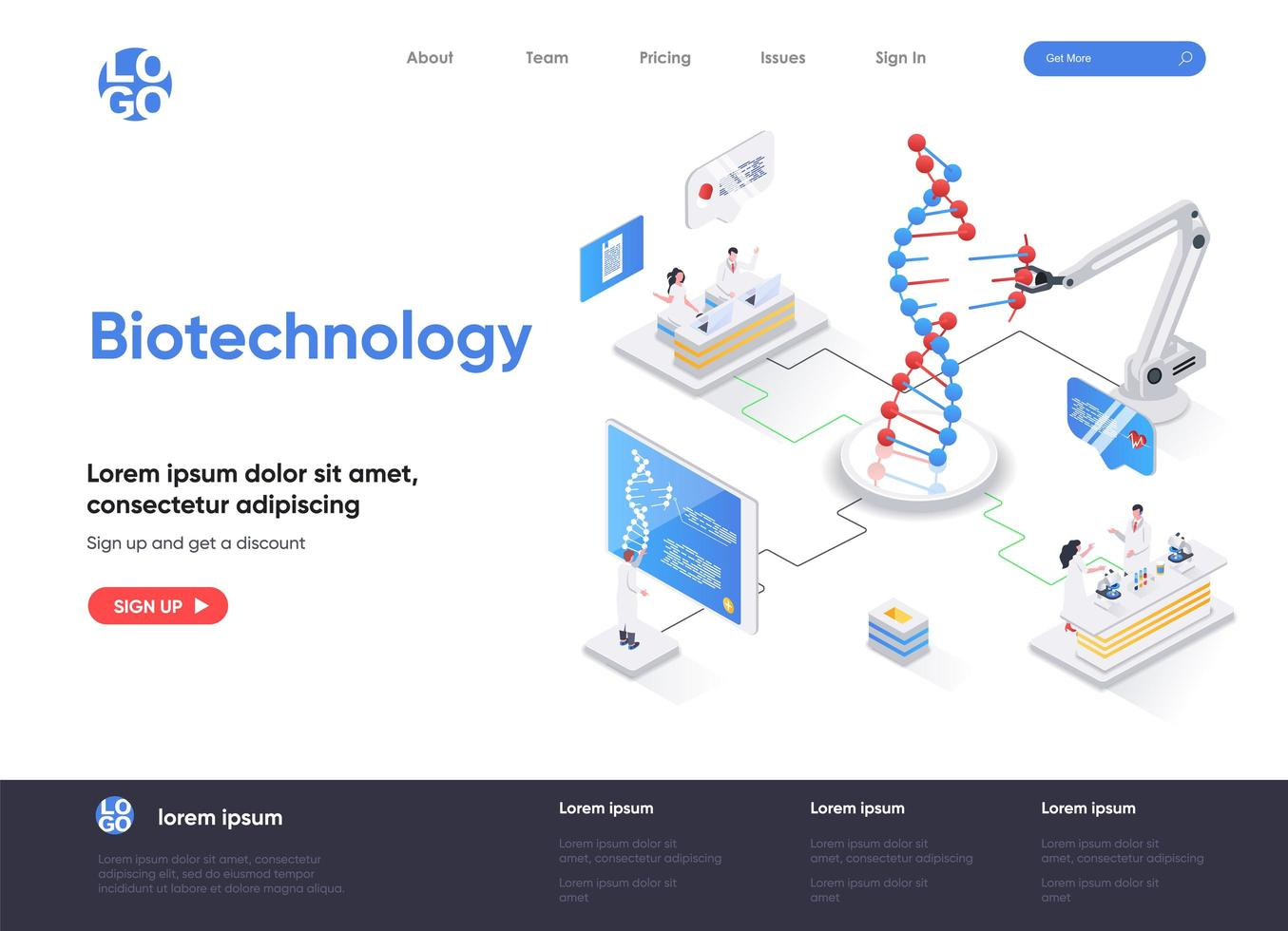 Biotechnology isometric landing page vector
