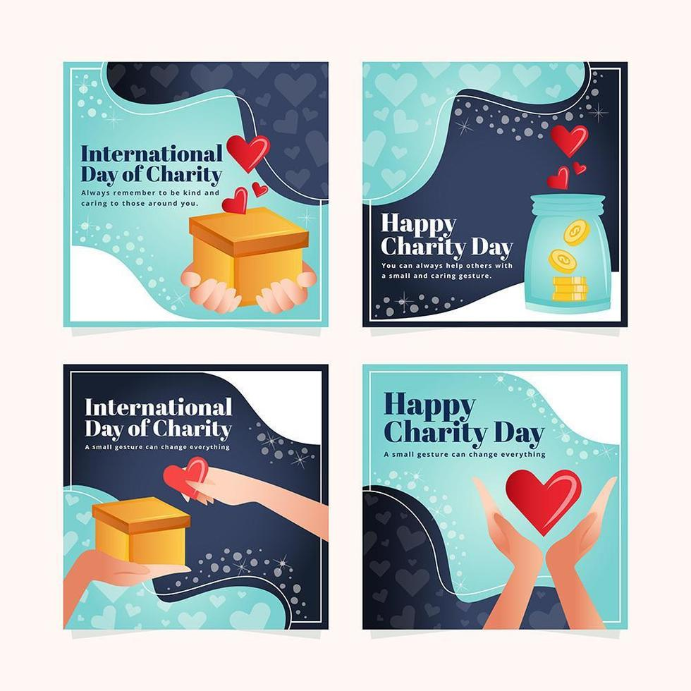 International Day of Charity Cards vector