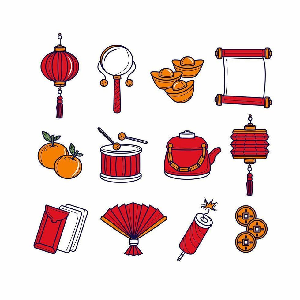 New Year Thin Line Icons vector