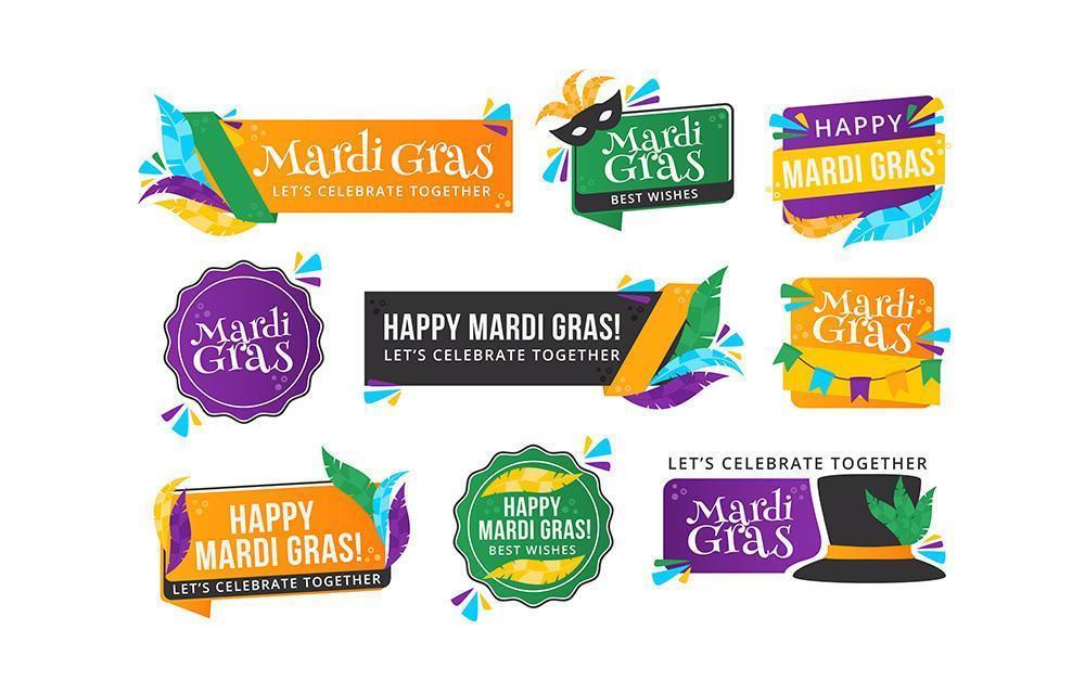 Mardi Gras Festivity Labels vector