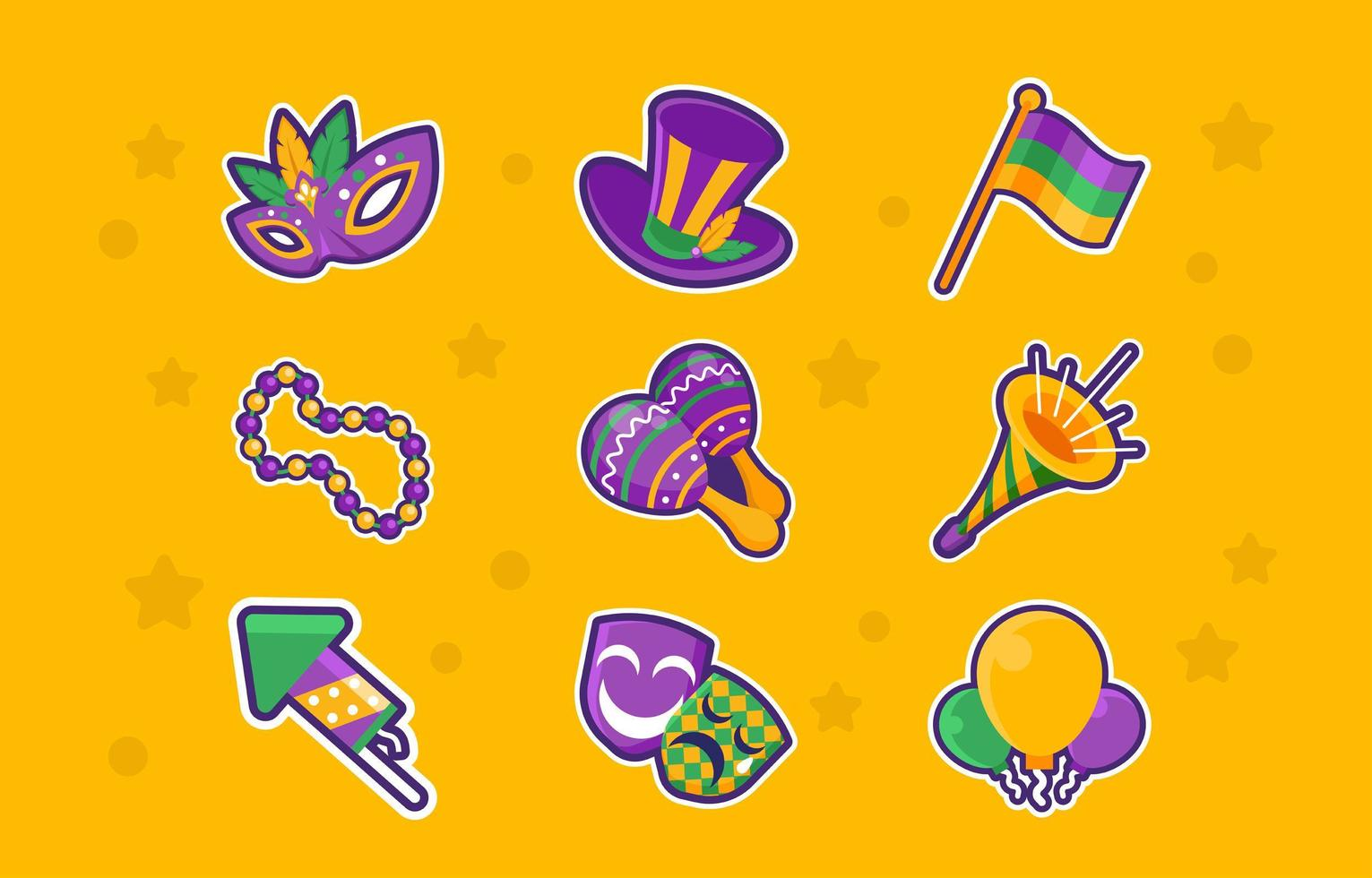 Sticker Pack of Mardi Gras Festival vector