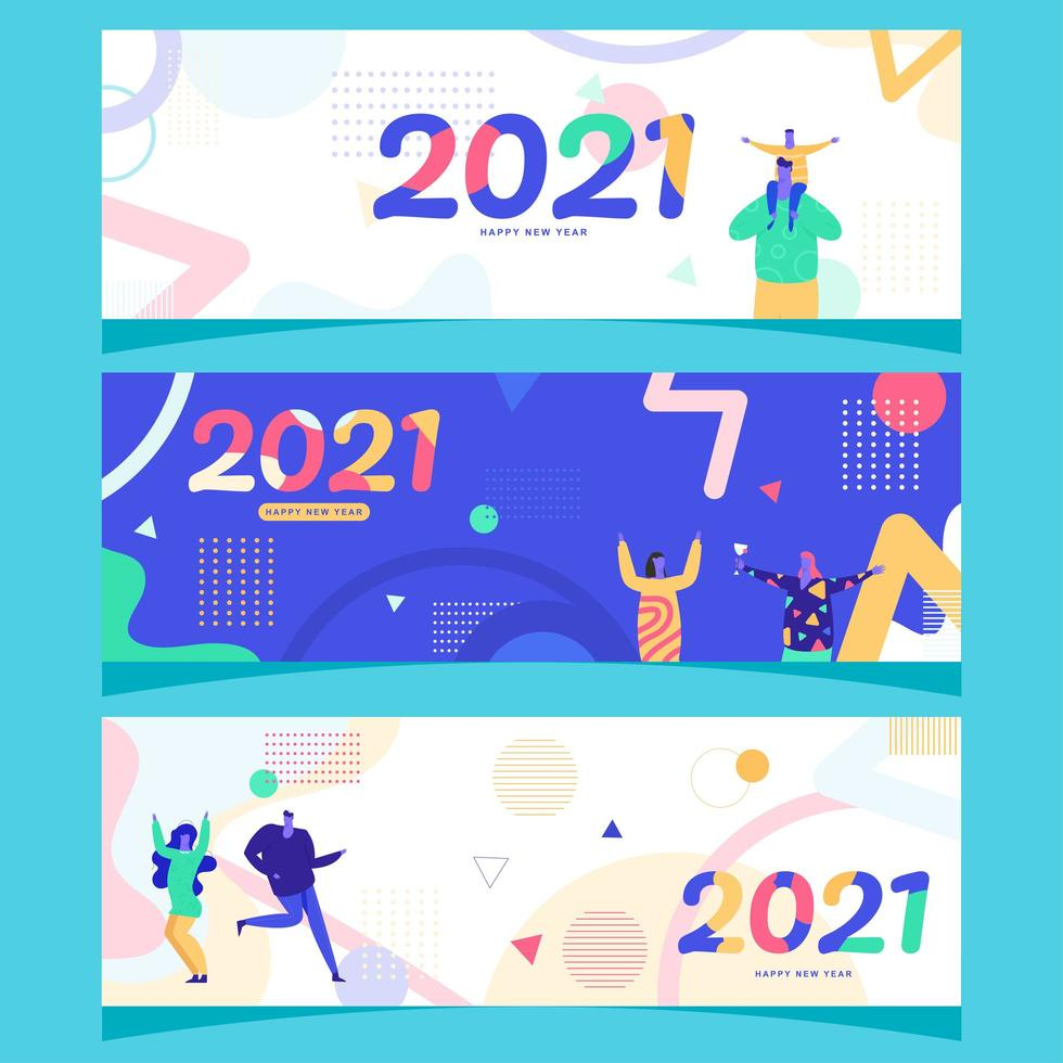 2021 Geometry Happy New Year Banner vector