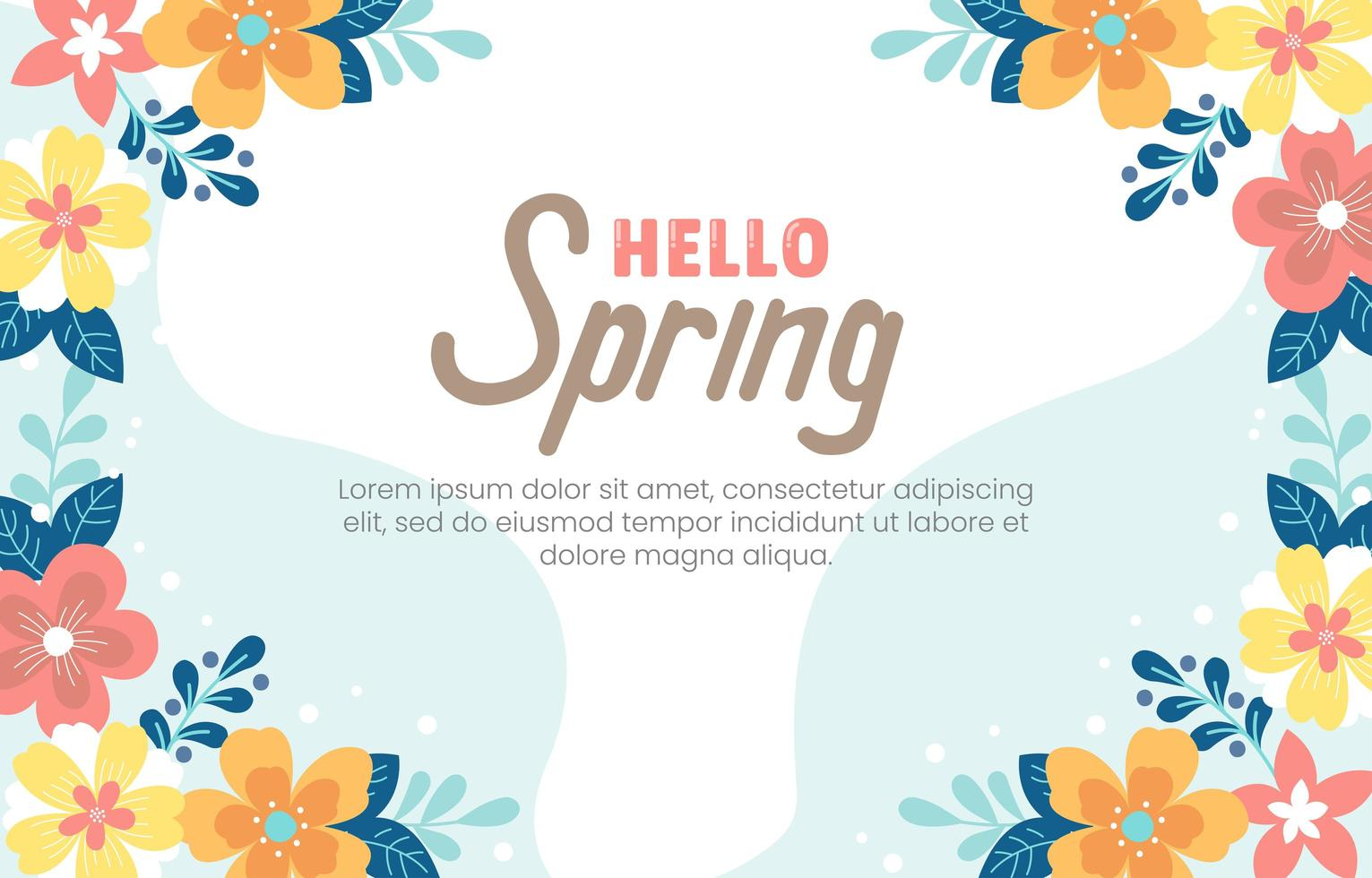 Natural Flowery White Blue Background vector