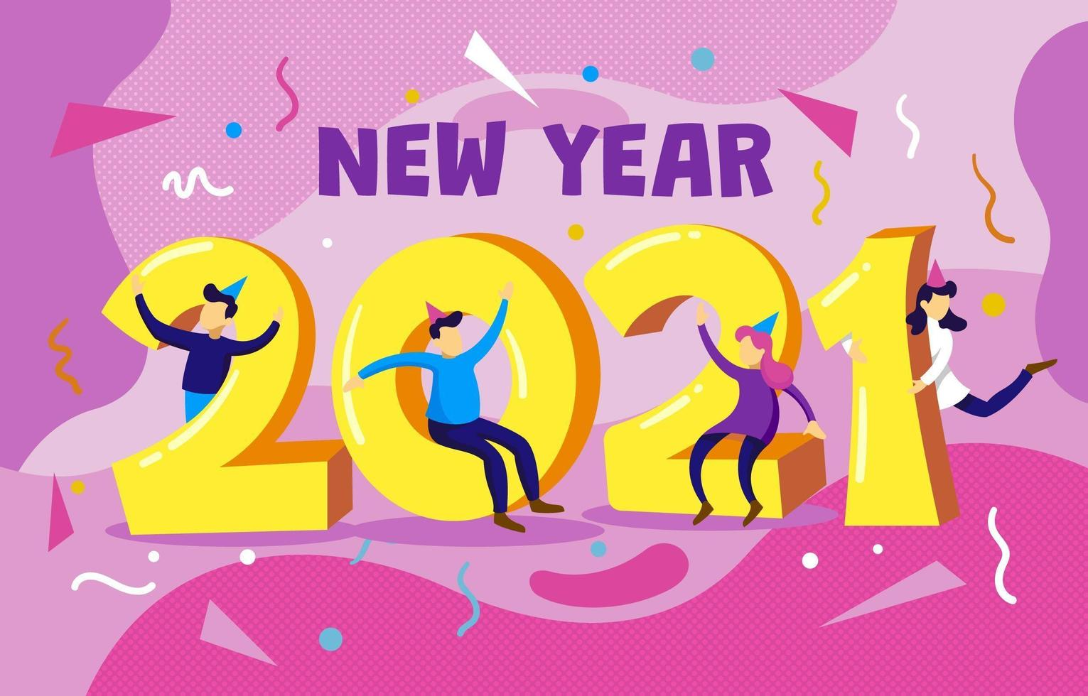 2021 with People Celebrating New Year vector