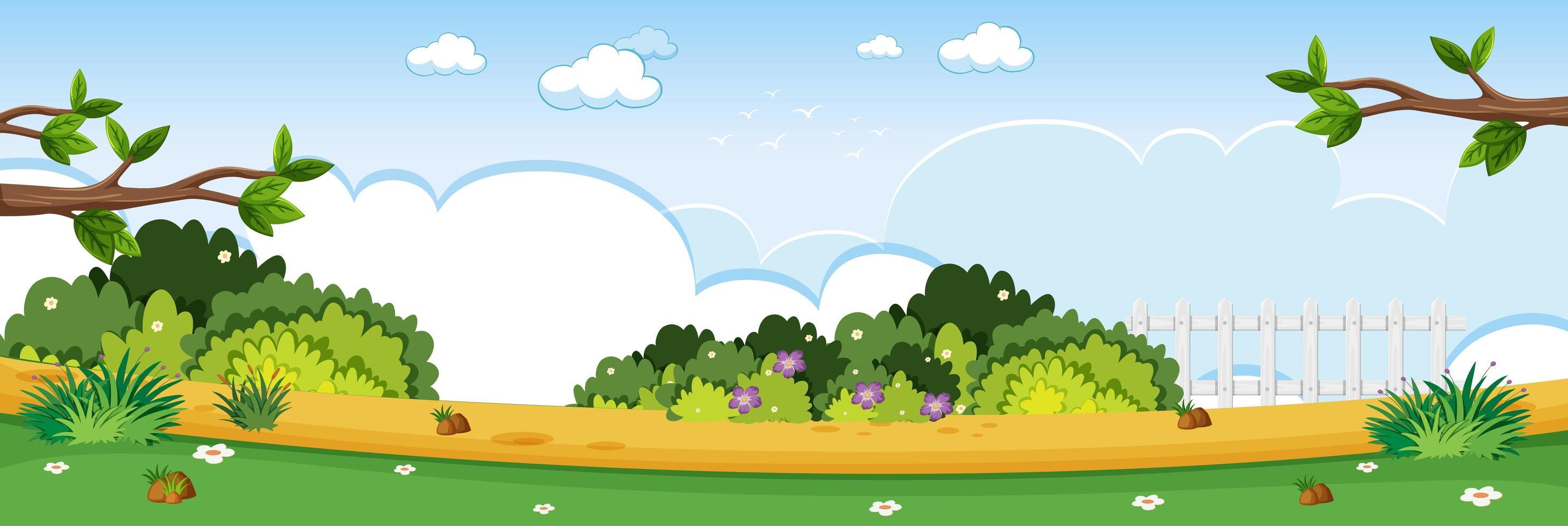Blank nature park horizontal scene vector