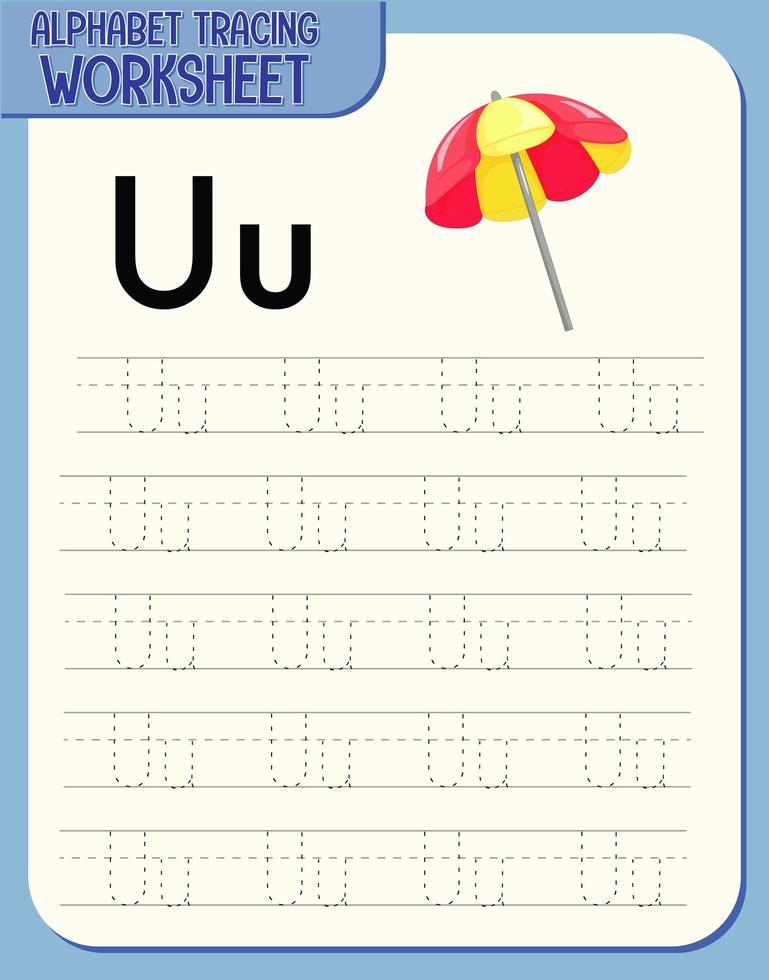 hoja de trabajo de rastreo alfabético con las letras u y u vector