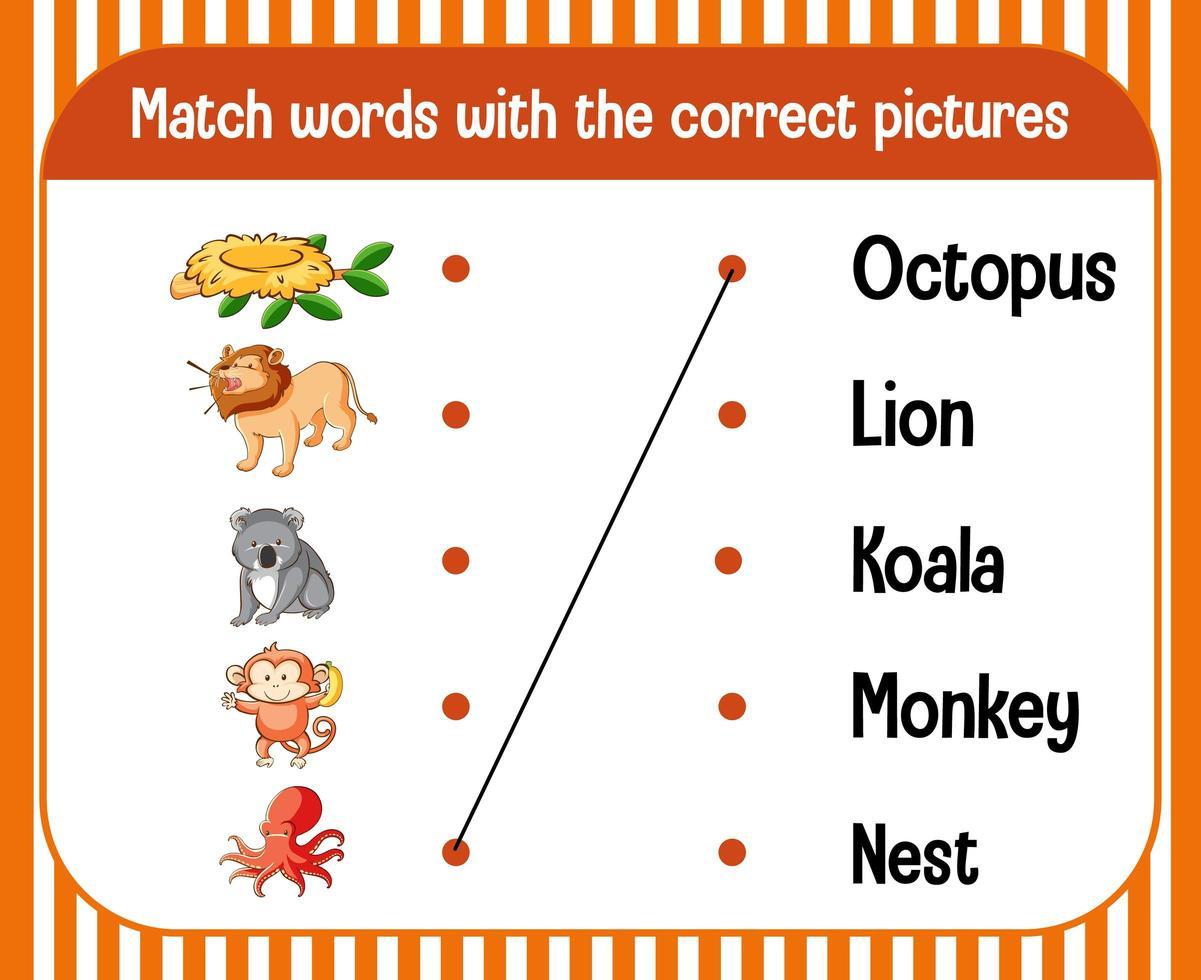 hoja de trabajo de emparejamiento de palabra a imagen para niños vector
