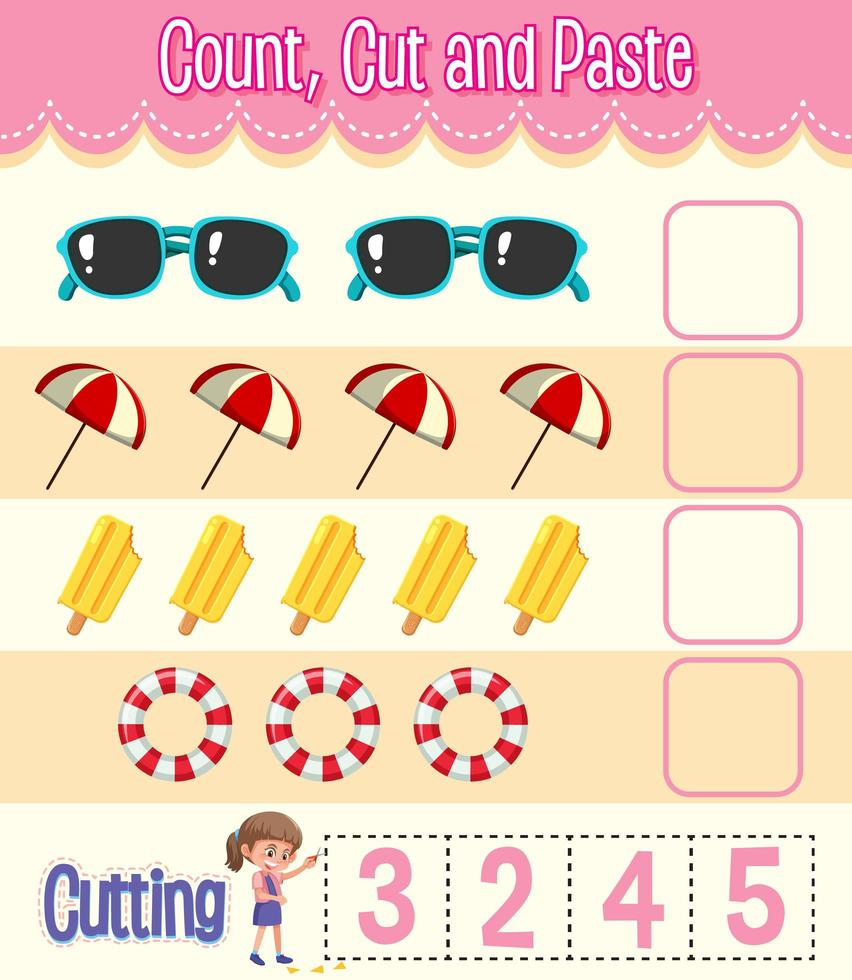 Count, Cut and Paste maths worksheet for children vector
