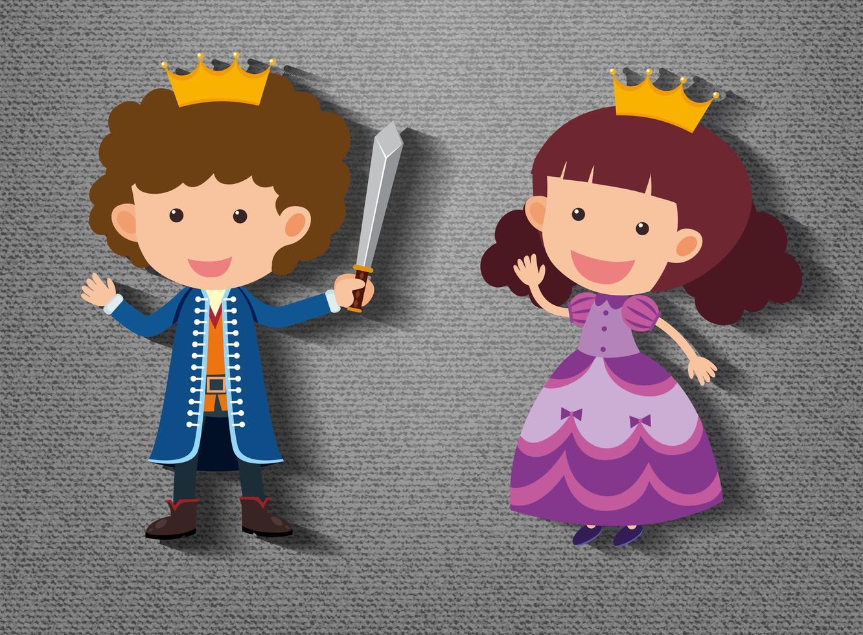 pequeño caballero y personaje de dibujos animados princesa sobre fondo gris vector
