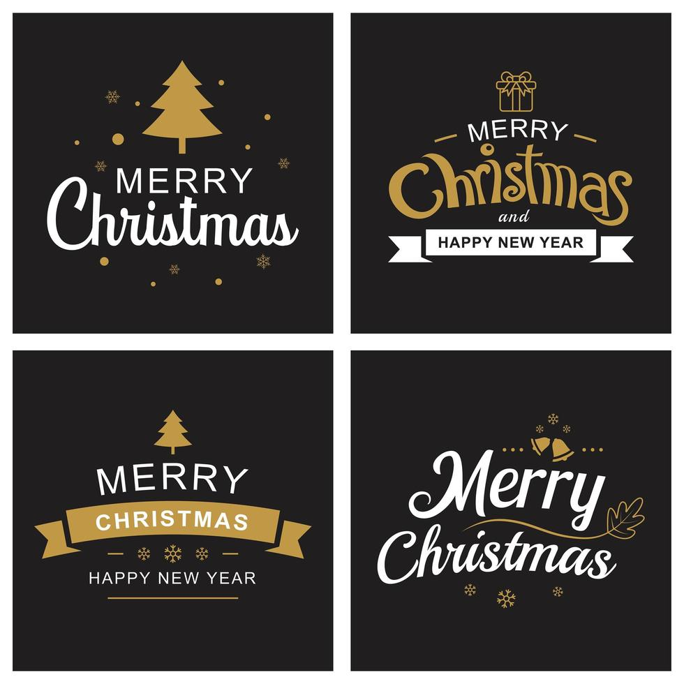 Merry christmas and happy new year card set vector