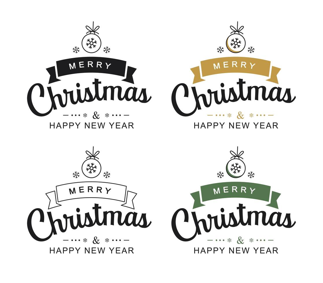 Merry christmas and happy new year typography labels vector