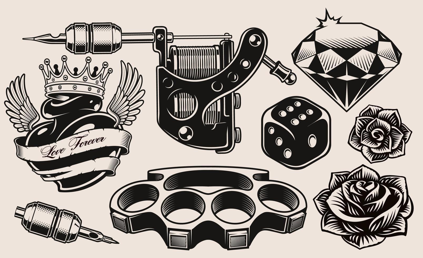 Un Conjunto De Temas De Tatuajes En Blanco Y Negro Descargar Vectores Gratis Illustrator Graficos Plantillas Diseño