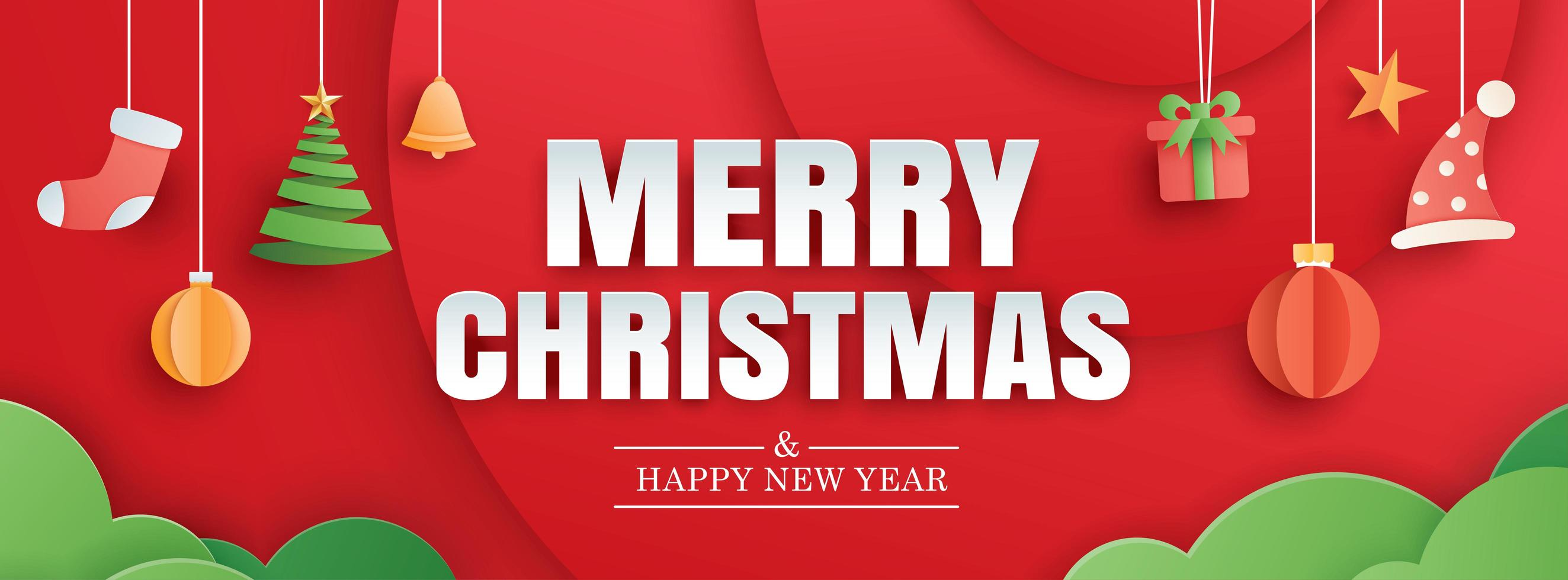 Merry christmas and happy new year red banner vector