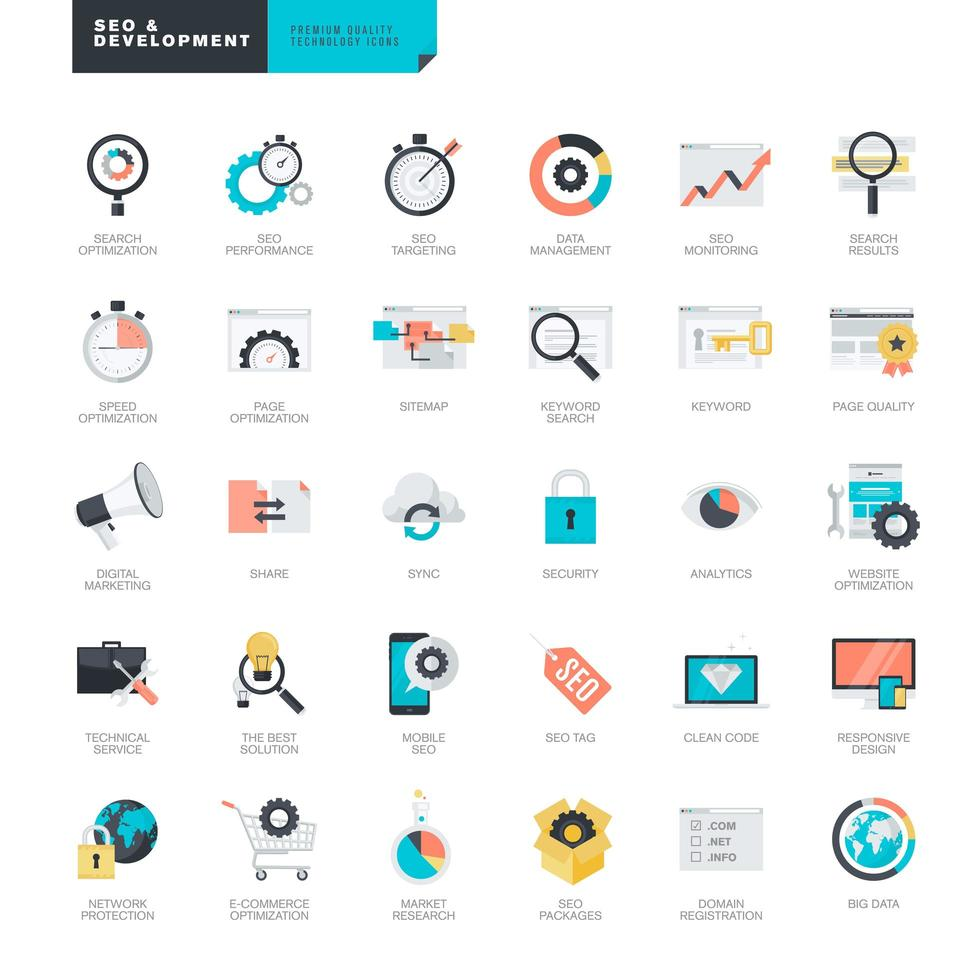 Set of flat design icons for SEO and website development vector