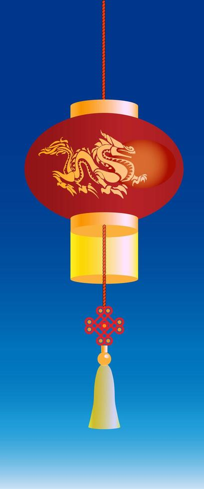 Chinese Lantern with Golden Dragon vector