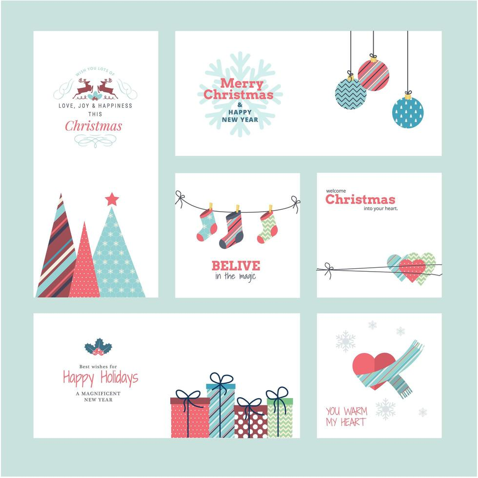 Set of Christmas and New Year 2021 greeting cards vector