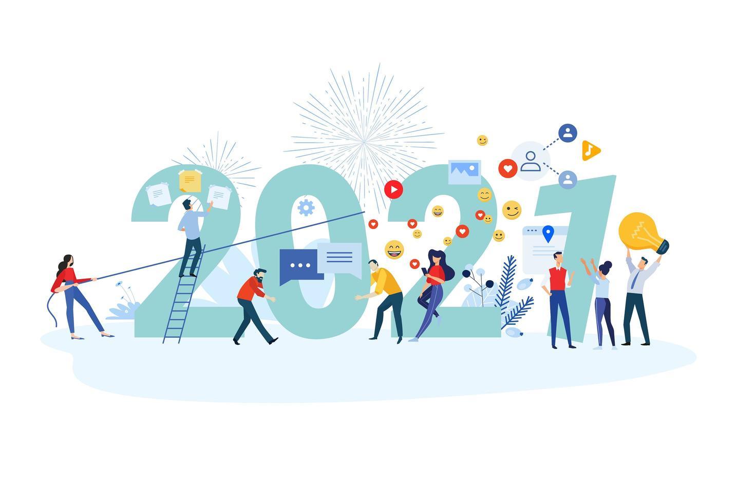 New Year 2021 marketing vector
